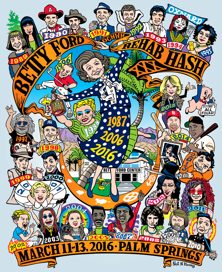 OCHHH Betty Ford Rehab Hash XXX Character Tee Shirt Back (2016)