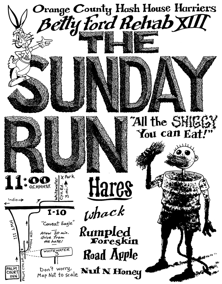 OCHHH Betty Ford Rehab Hash XIII Sunday Run Flyer by Nut N Honey (1999) Humphrey Bogart