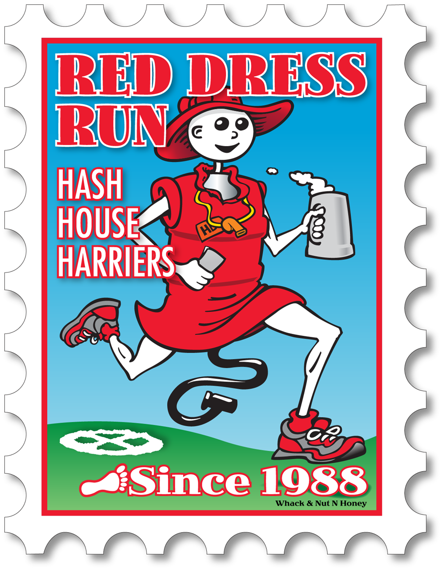 Hash Boy Red Dress Run Postage Stamp