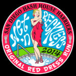 San Diego Hash House Harriers Red Dress Run (2014) Tee Back by Nut N Honey