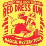 A red Hashing Walrus with beer bottle at SDH3 Red Dress Run