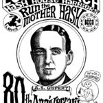 Hash Boy running with beer under portrait of Gispert Long Beach LBH3 Mother Hash 80th Anniversary (2018) Tee Back by Nut N Honey