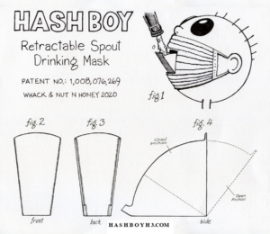 Hash Boy's Retractable Spout H3 Drinking Mask Invention Patent Design Sketch